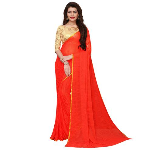 Dazzling Coral Red Colored Party Wear Chiffon Saree