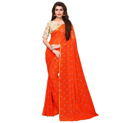 Surpassing Orange Colored Party Wear Chiffon Saree