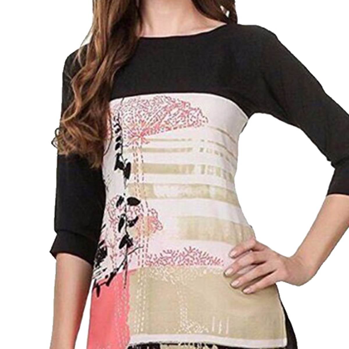 Multi Printed Casual Wear American Crape Kurti