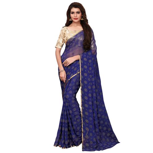 Intricate Navy Blue Colored Party Wear Chiffon Saree