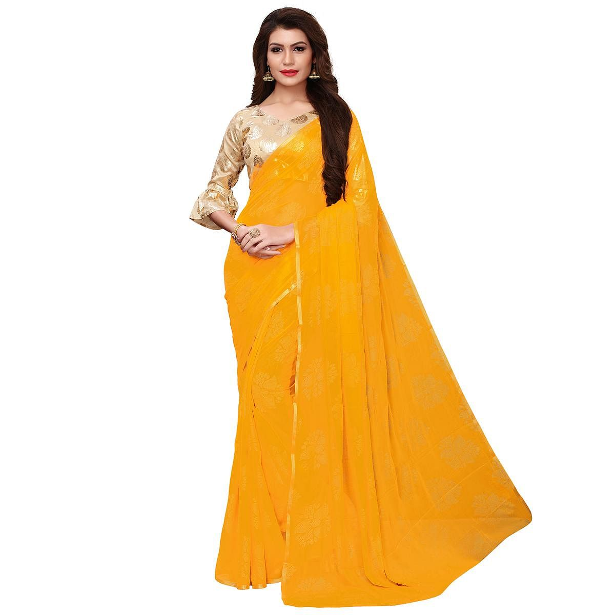 Exotic Yellow Colored Party Wear Chiffon Saree