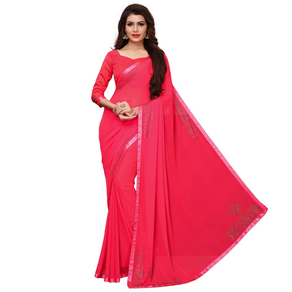 Sophisticated Pink Colored Party Wear Chiffon Saree