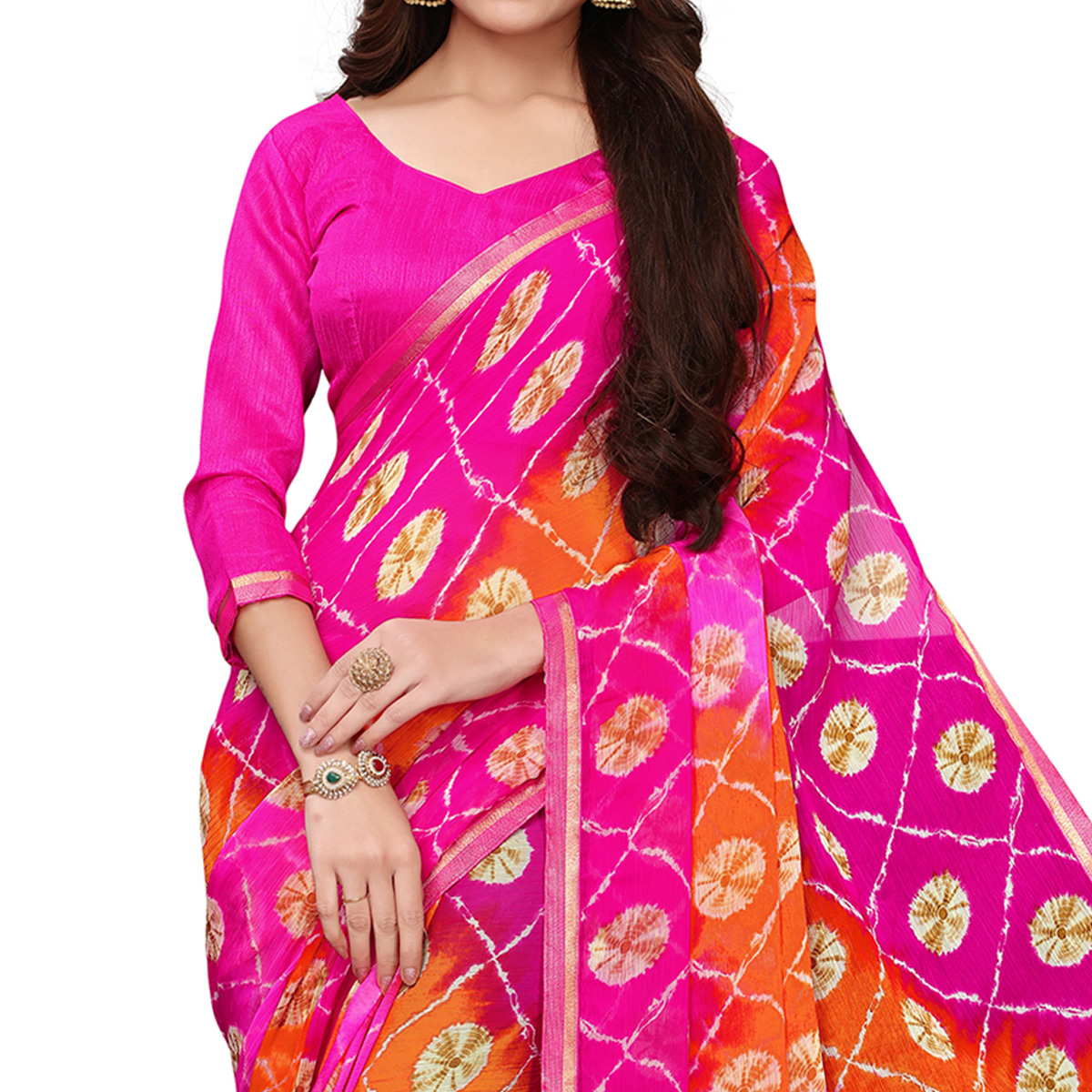 Trendy Pink Colored Casual Wear Printed Chiffon Saree