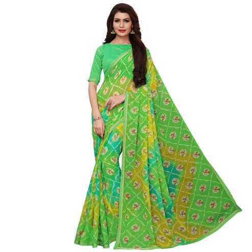 Elegant Green Colored Casual Wear Printed Chiffon Saree