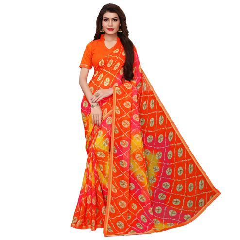 Radiant Orange Colored Casual Wear Printed Chiffon Saree