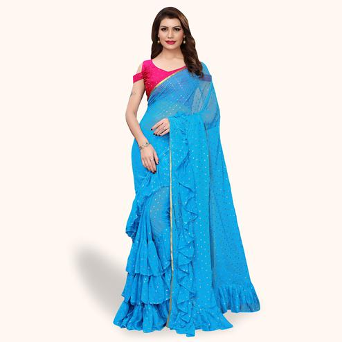 Opulent Sky Blue Colored Party Wear Chiffon Saree