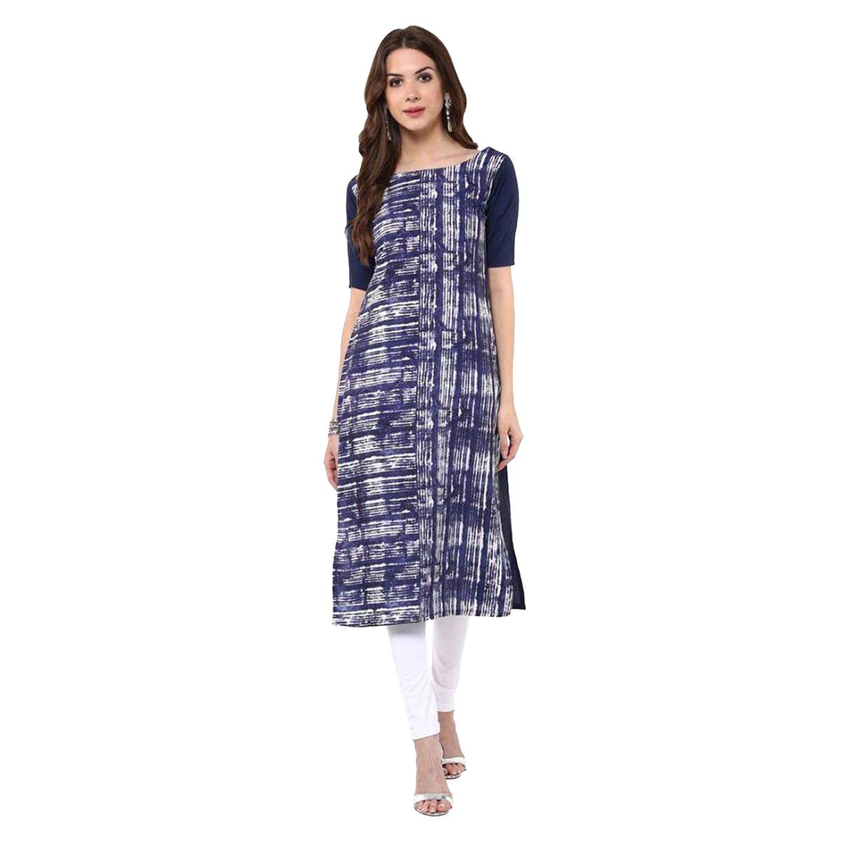 Blue Printed Casual Wear American Crape Kurti