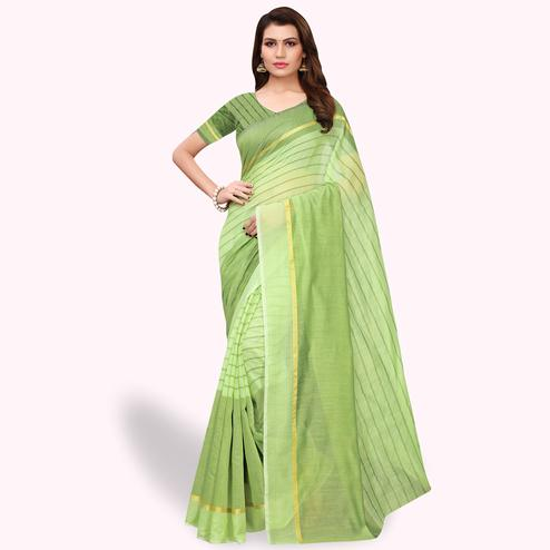 Glowing Pale Green Colored Casual Wear Art Silk Saree