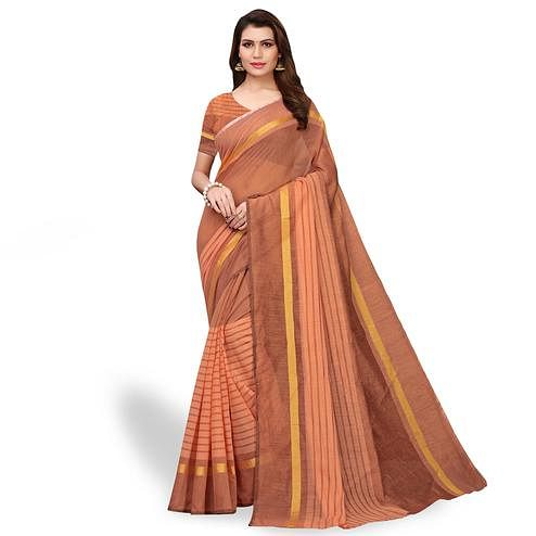 Gleaming Brown - Peach Colored Casual Wear Art Silk Saree