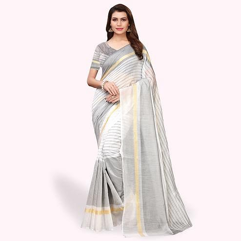 Unique White - Gray Colored Casual Wear Art Silk Saree