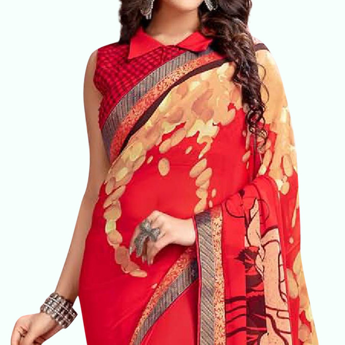 Blissful Red Colored Casual Printed Georgette Saree