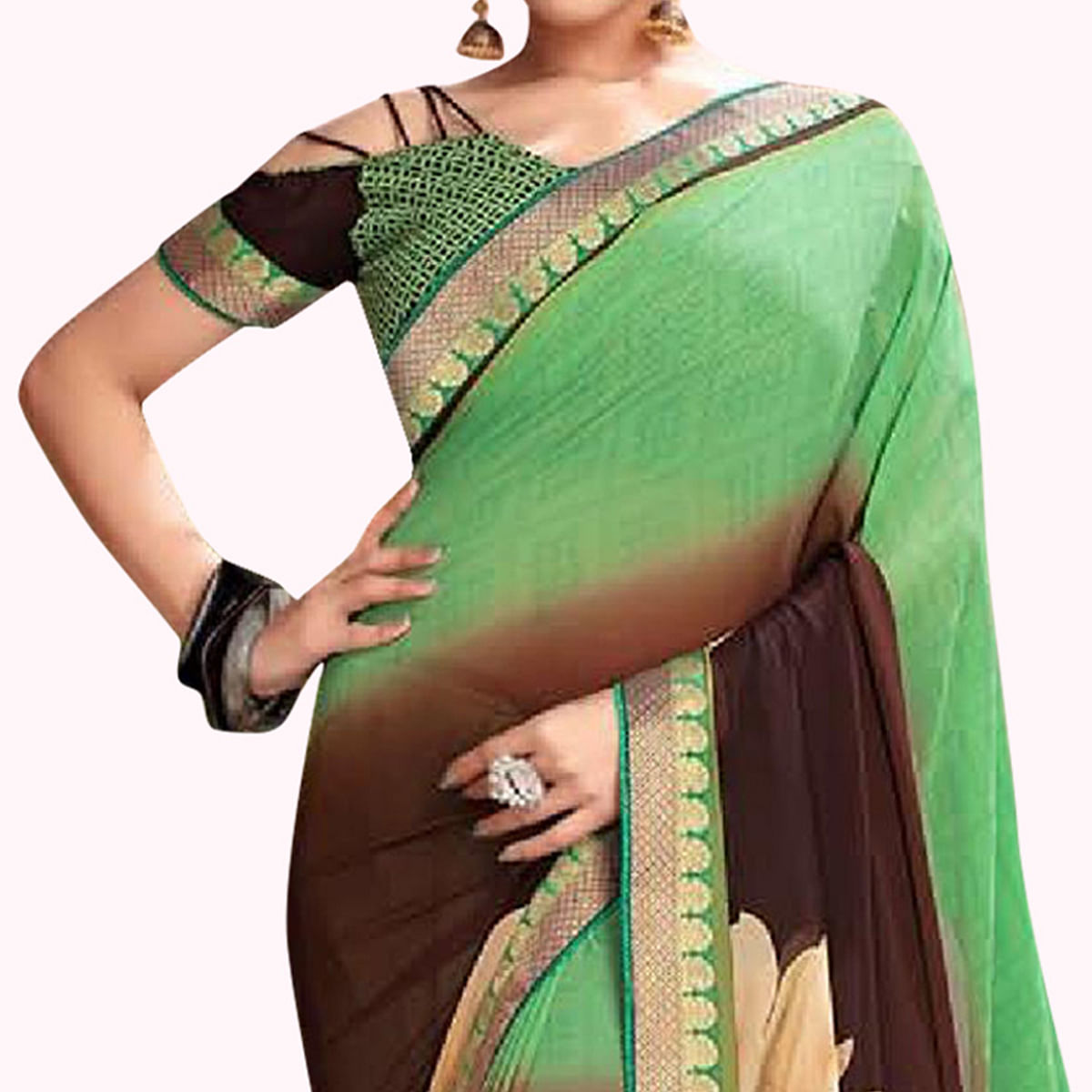 Ideal Green-Brown Colored Casual Printed Georgette Saree