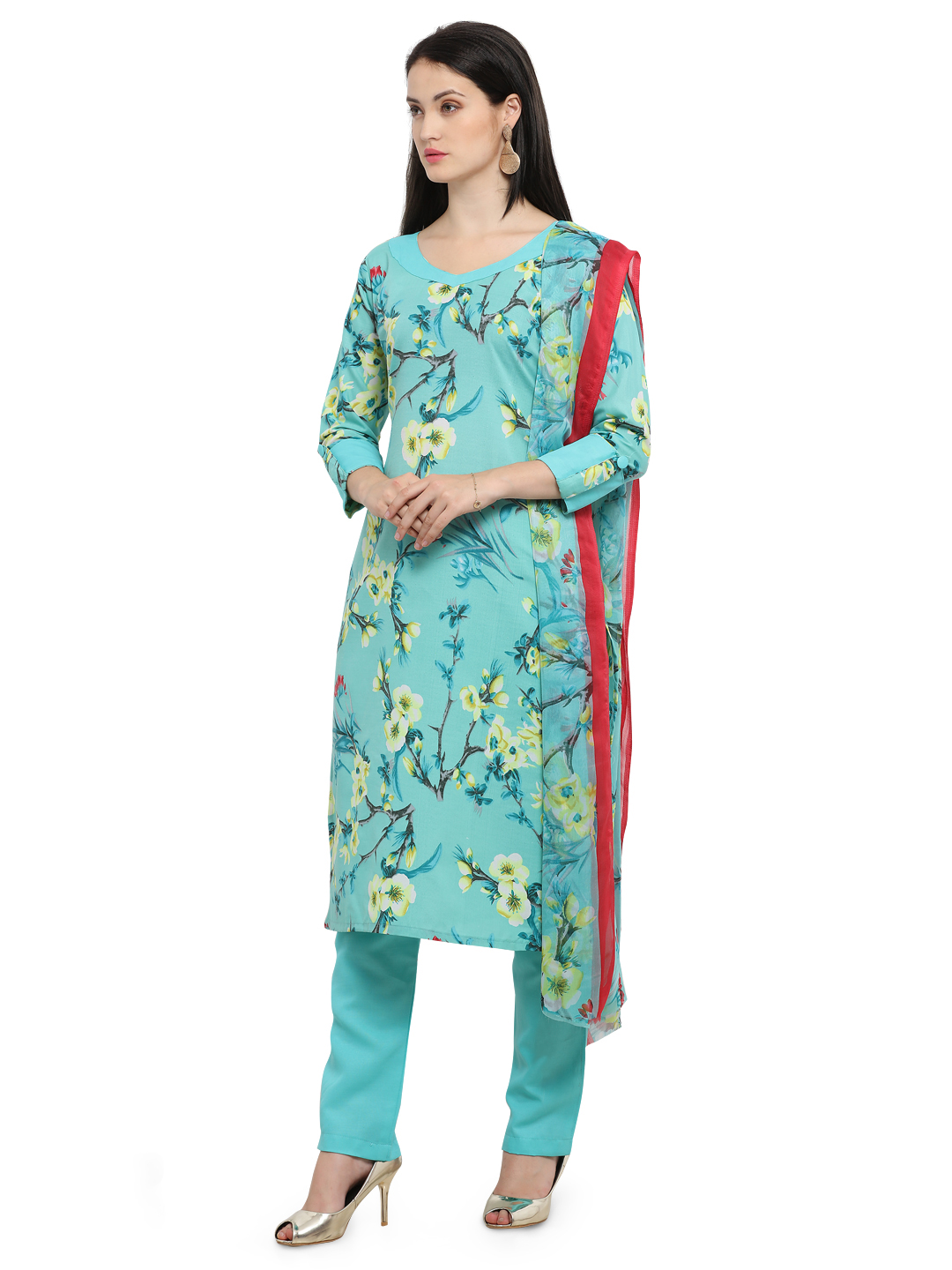 Elegant Green Printed Cotton Dress Material