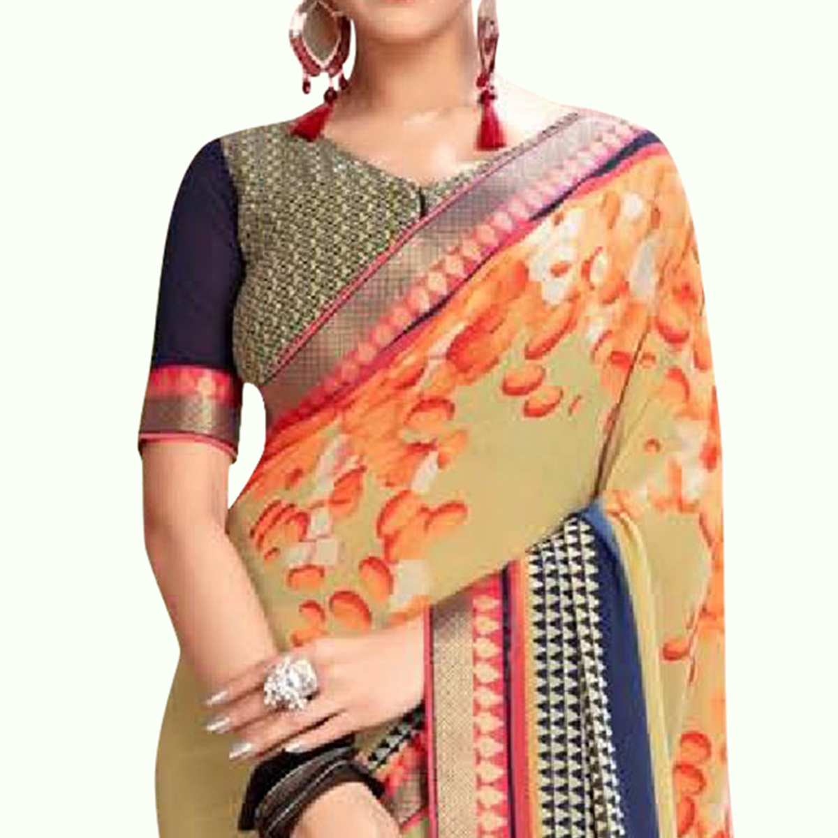 Lovely Beige Colored Casual Printed Georgette Saree