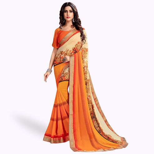 Ethnic Orange-Cream Colored Casual Printed Georgette Saree