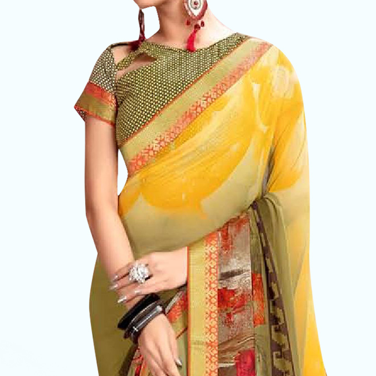 Pretty Olive Green-Yellow Colored Casual Printed Georgette Saree