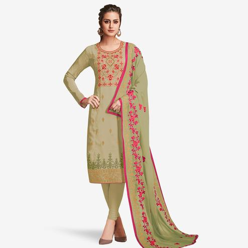 Pretty Light Olive Green Colored Partywear Embroidered Silk Suit