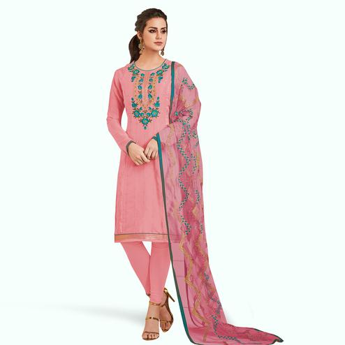 Alluring Pink Colored Partywear Embroidered Silk Suit