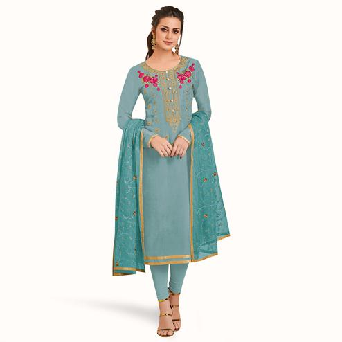 Sensational Light Sky Blue Colored Partywear Embroidered Silk Suit