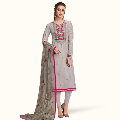 Flaunt Gray Colored Partywear Embroidered Silk Suit
