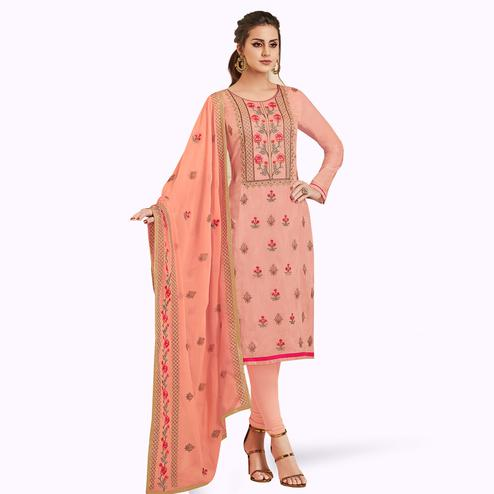 Stunning Peach Colored Partywear Embroidered Silk Suit