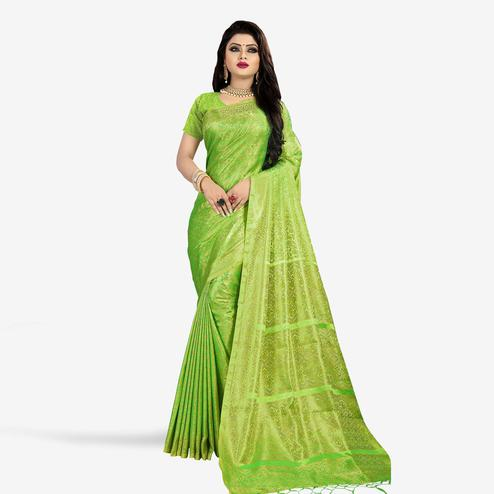Hypnotic Green Colored Festive Wear Woven Art Silk Saree