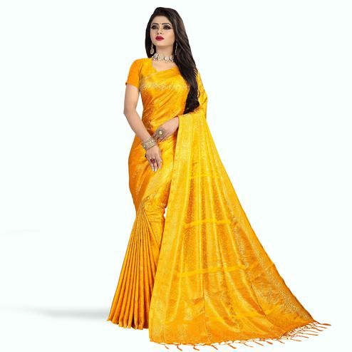 Flattering Yellow Colored Festive Wear Woven Art Silk Saree