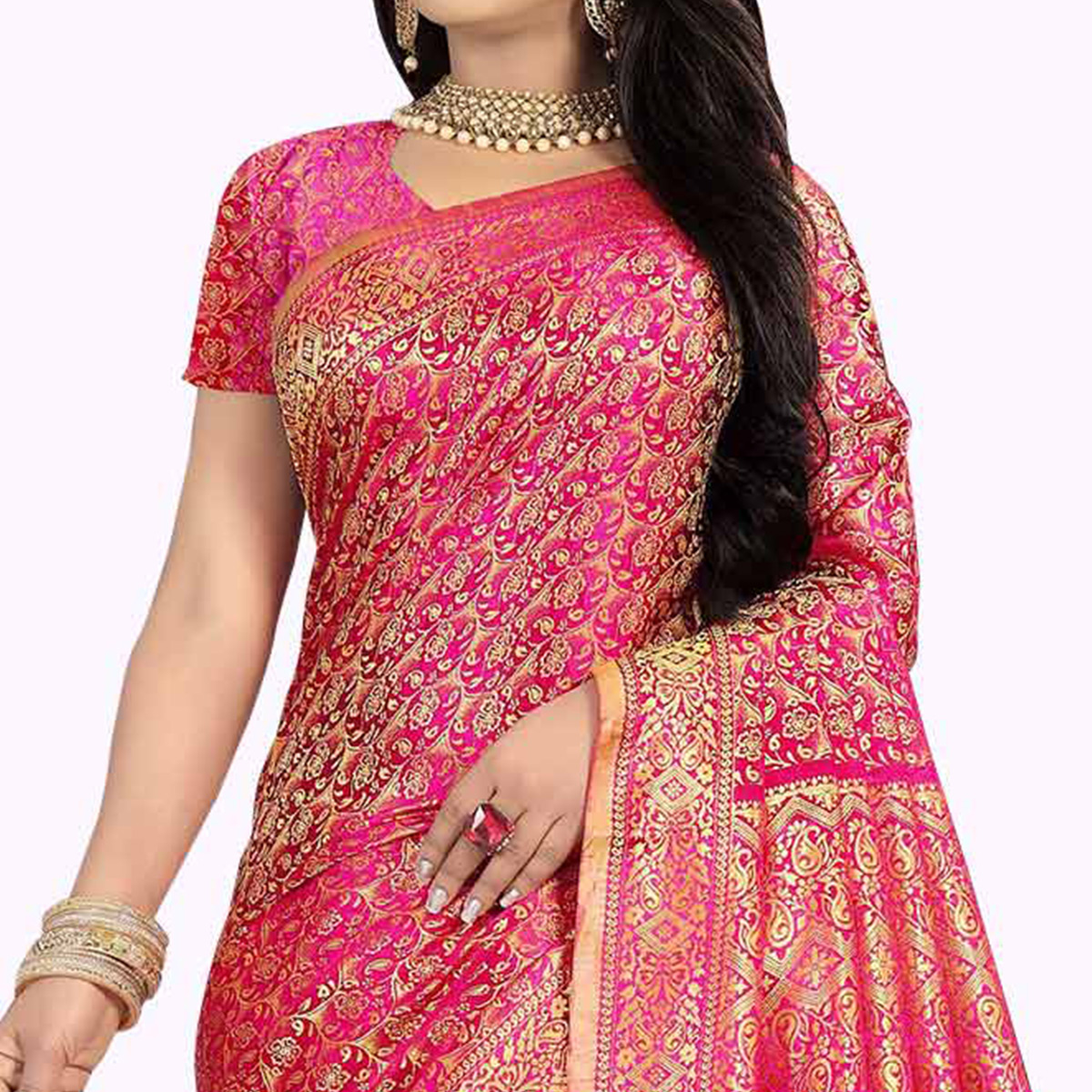 Preferable Pink Colored Festive Wear Woven Art Silk Saree