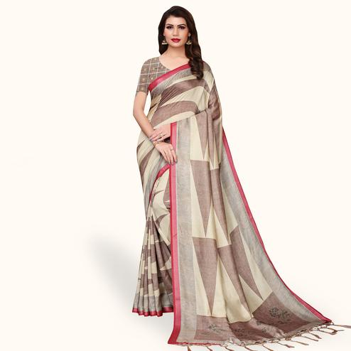Adorable Brown - Cream Colored Casual Wear Printed Pashmina Silk Saree