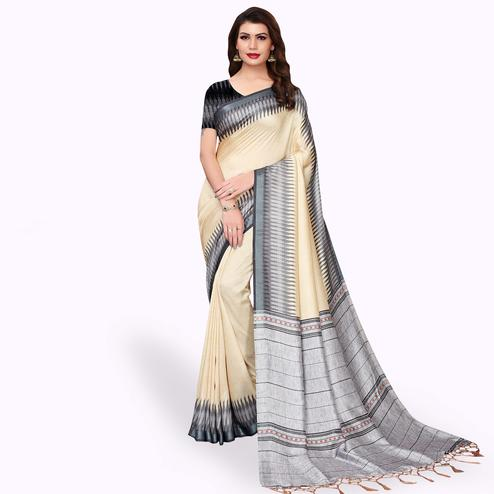 Glorious Cream Colored Casual Wear Printed Pashmina Silk Saree