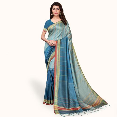 Attractive Blue Colored Casual Wear Printed Pashmina Silk Saree