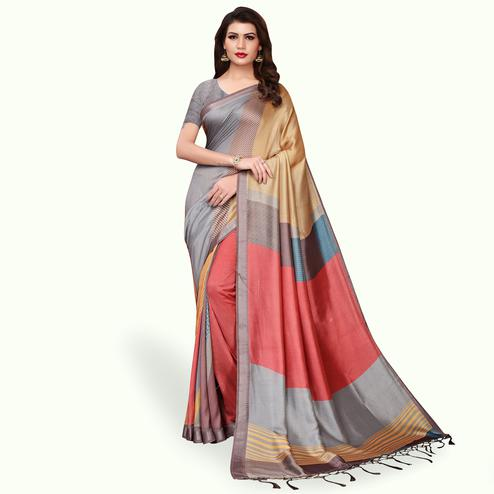 Blooming Gray - Multi Colored Casual Wear Printed Pashmina Silk Saree