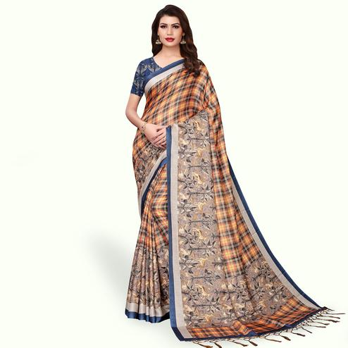 Charming Orange Colored Casual Wear Printed Pashmina Silk Saree