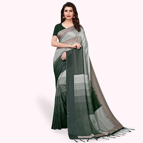 Jazzy Gray - Multi Colored Casual Wear Printed Pashmina Silk Saree