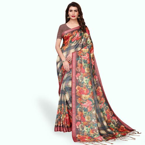 Delightful Gray - Cream Colored Casual Wear Printed Pashmina Silk Saree