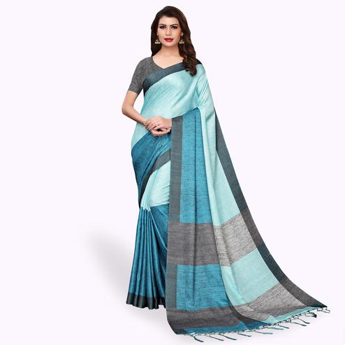 Engrossing Aqua Blue Colored Casual Wear Printed Pashmina Silk Saree