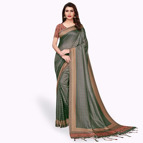 Captivating Dark Gray Colored Casual Wear Printed Pashmina Silk Saree