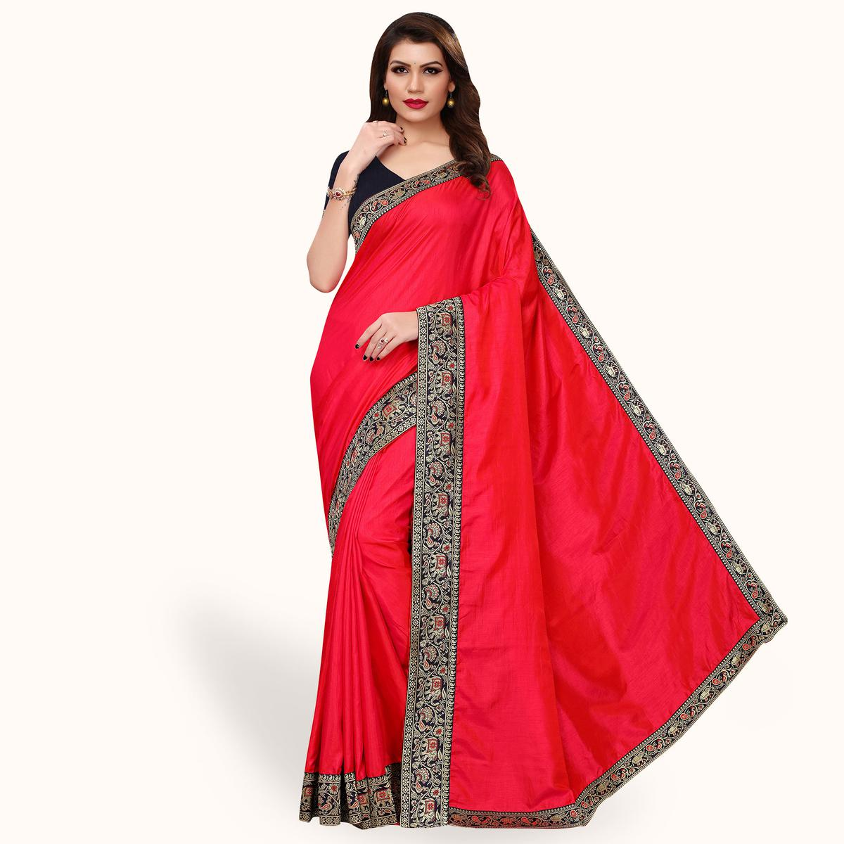 Fantastic Hot Pink Colored Party Wear Embroidered Silk Saree