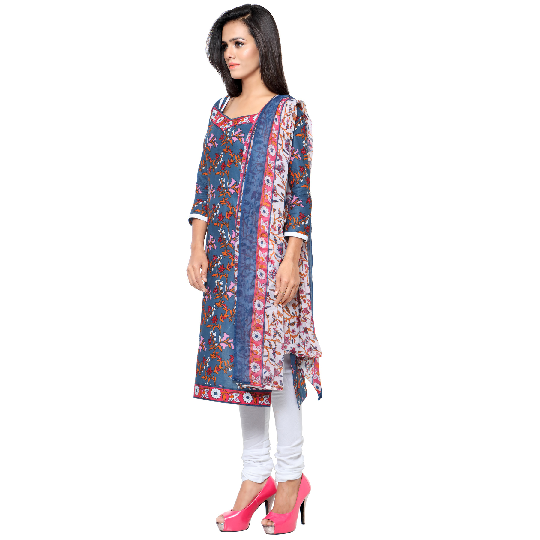 Classy Blue Printed Cotton Dress Material
