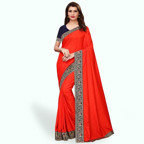 Amazing Red Colored Party Wear Embroidered Silk Saree