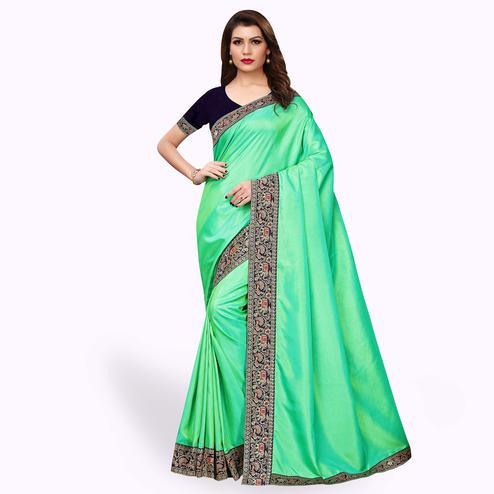 Gorgeous Green Colored Party Wear Embroidered Silk Saree
