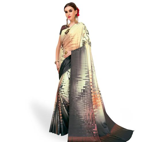 Blissful Cream - Gray Colored Casual Wear Printed Art Silk Saree