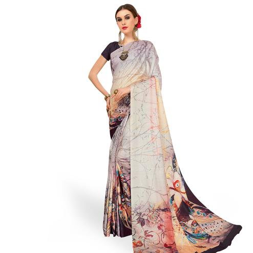 Ideal Light Gray Colored Casual Wear Printed Art Silk Saree