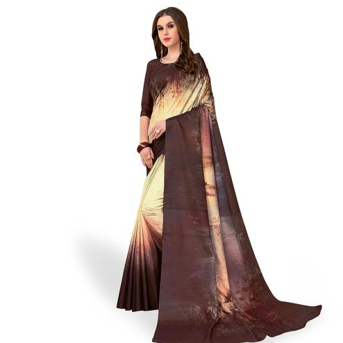 Imposing Cream - Brown Colored Casual Wear Printed Art Silk Saree