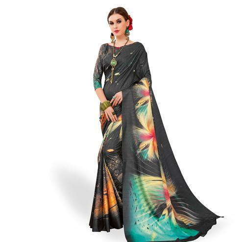 Lovely Dark Gray Colored Casual Wear Printed Art Silk Saree