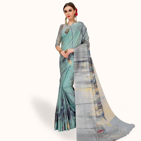 Majesty Pastel Aqua Colored Casual Wear Printed Art Silk Saree
