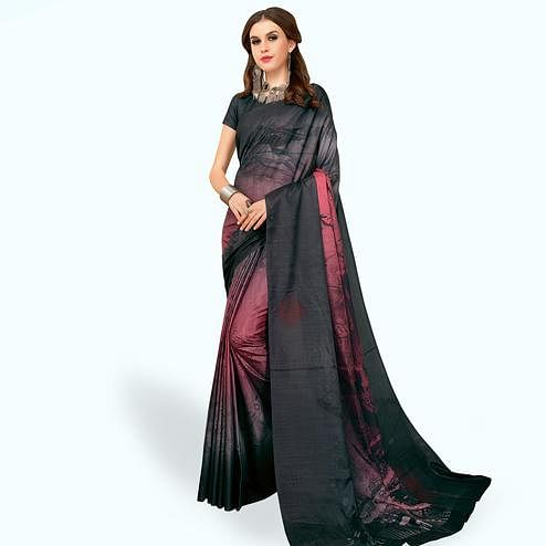 Impressive Black Colored Casual Wear Printed Art Silk Saree