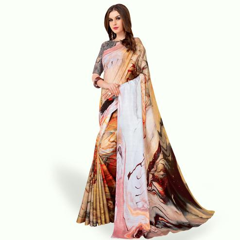 Mesmerising Cream - Multi Colored Casual Wear Printed Art Silk Saree
