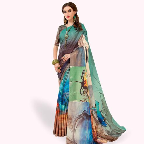 Pleasance Multi Colored Casual Wear Printed Art Silk Saree