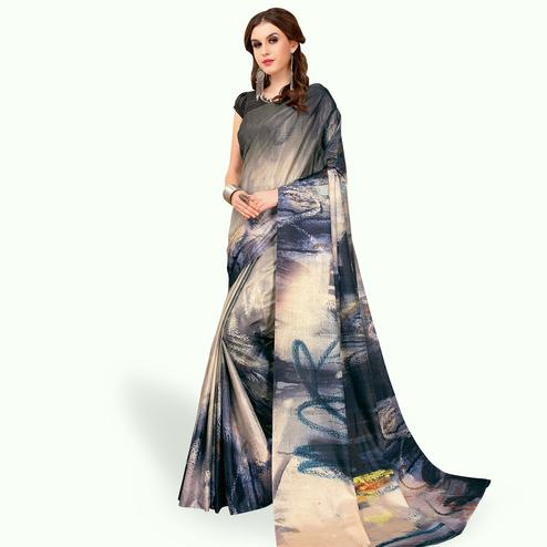 Breathtaking Gray - Multi Colored Casual Wear Printed Art Silk Saree
